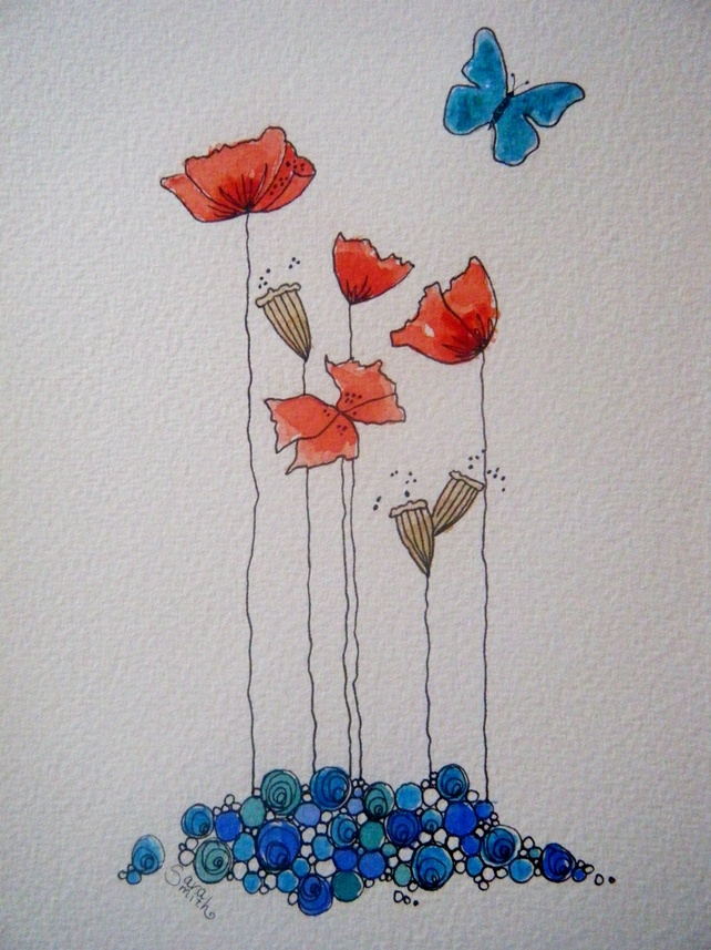 ORIGINAL watercolour and ink painting of poppies £30.00