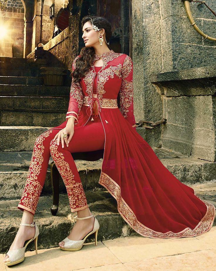 Buy Red Georgette Anarkali Suit