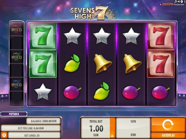 Sevens High är en spelautomat med 5 hjul och 25 insatsrader. Spelet har funktionerna Sevens Omspel, progressiva jokrar och frispel.