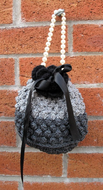 Rococo Handbags - small evening crochet bobble bag with pearl bead handle