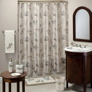 ... Shades Of Teal And Brown Make Up This Delightful Printed Shower Curtain  And Bath Collection. This Collection Features A Range Of Neutral Earth Tones  ...