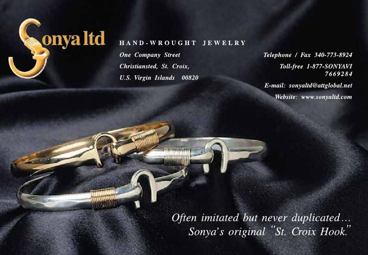 "Beautiful and elegant hand – wrought jewelry from historical Sonya ltd located on St. Croix VI. Visit them today for the original ""St. Croix Hook""! Click the photo for more information.   https://issuu.com/stcroixcaribbeanweddings/docs/stcroix-caribbean-weddings-issue-20/c/splj9vl #weddings #engagements #virginislands #caribbean #stcroix #destinationweddings #vinice #bride #stcroix #ClippedOnIssuu from Elegant St. Croix Caribbean Weddings Issue 5 - 2016"