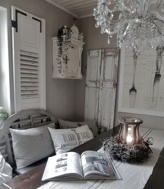 Love this shabby chic room! Love the grey and mushroom colors