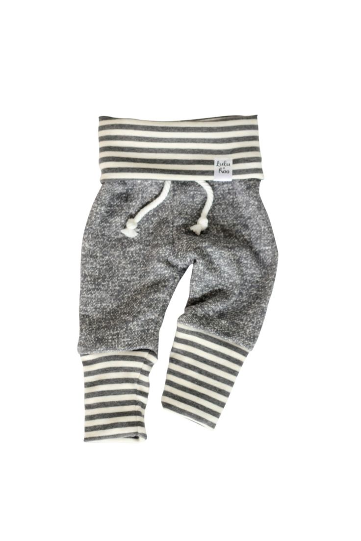 grey stripe sweatpants, baby heather sweats, organic kid pants, take home outfit, heather grey sweatpants, baby jogging outfit, newborn by ShopLuluandRoo on Etsy