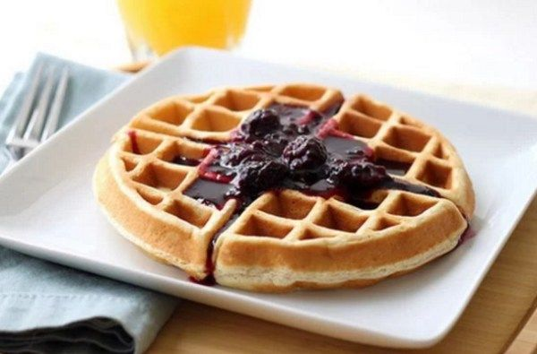 Waffles with Blackberry Syrup