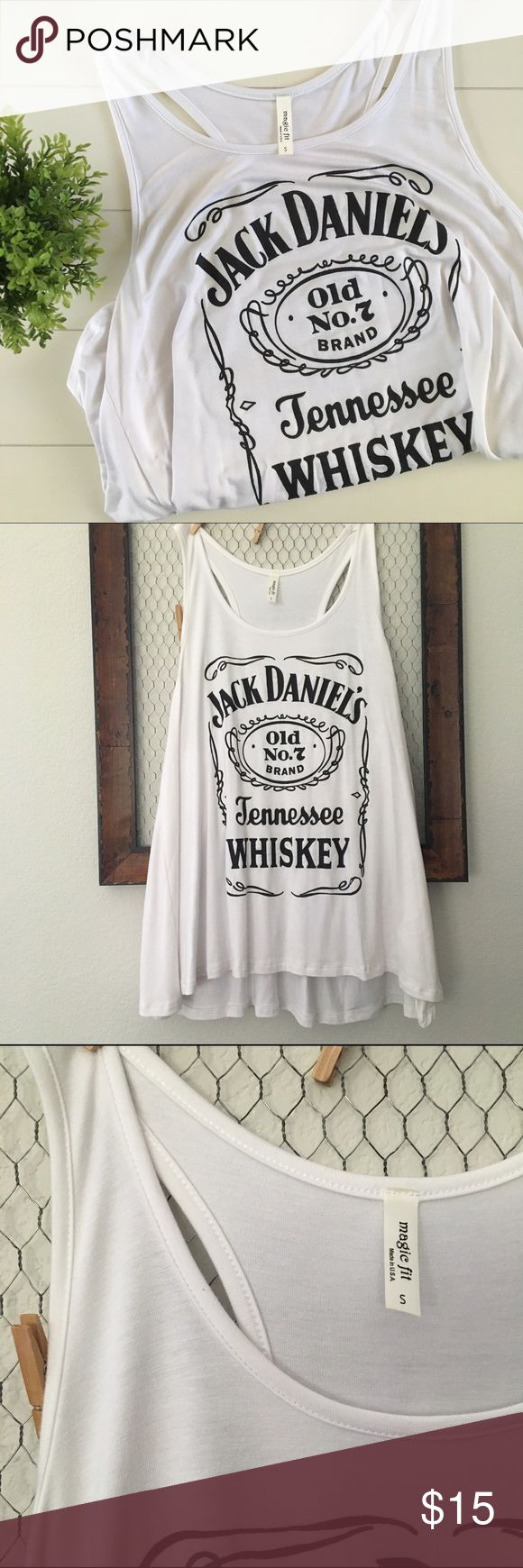Jack Daniels whiskey tank - white super cute Jack Daniels whiskey white tank top Tops Tank Tops