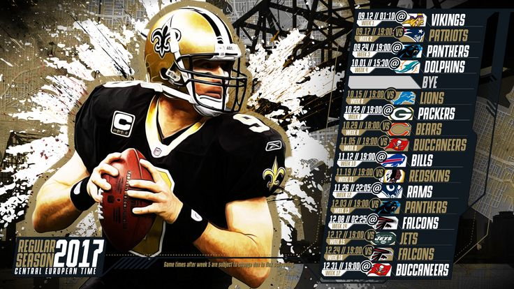 Schedule wallpaper for the New Orleans Saints Regular Season, 2017 Central European Time. Made by #tgersdiy
