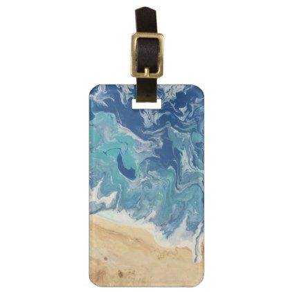 Beach Abstract Personalized Luggage Tag - travel luggage tags personalize customize your name diy