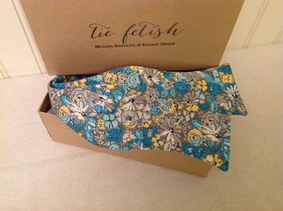 Blue yellow grey flower butterfly tip freestylele bow by TieFetish