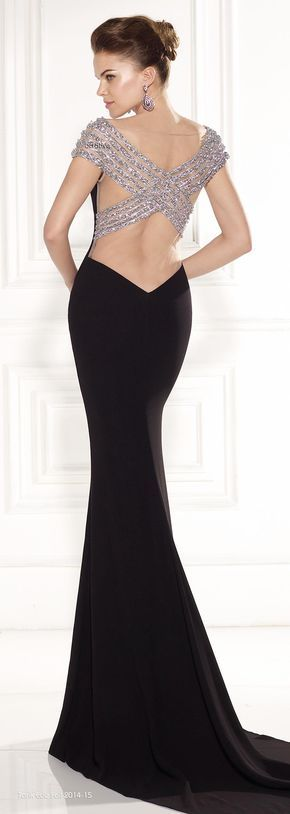A black formal wear dress with beaded criss-cross on open back. Black Special Occasion haute couture gown that can be easily replicated for an affordable price. We are in the USA and offer inexpensive custom evening dresses for all sizes. www.dariuscordell.com BLACK