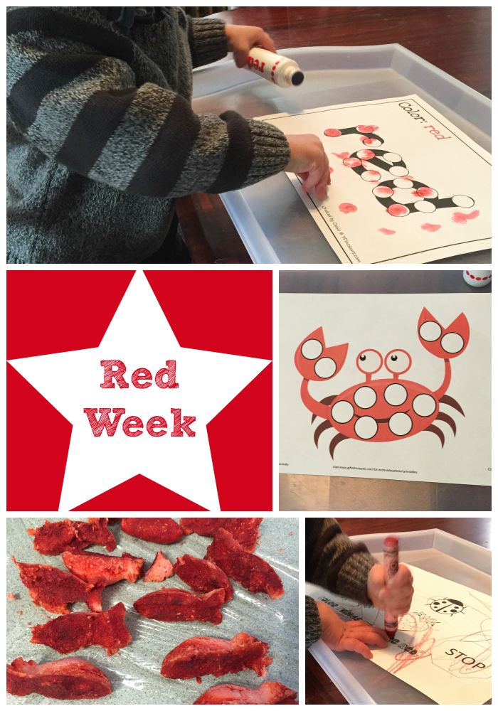 Week 1 of our Color Week: Red!  We explored the color red through play and art!  Activities for teaching colors to my toddler (preschool age, too!)