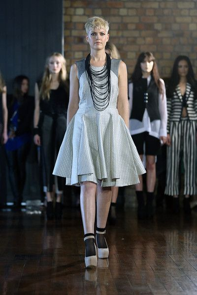 taylor 'Incision' collection SS13 - Jacquard Intercept Dress and Filament Neckpiece. Photo by Won at W Studio #NZFW