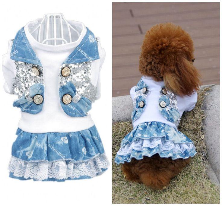 NEW 2014 Autumn Bling Dog Dress Shirt Dog Pet Puppy Dresses XXS XS S M L XL