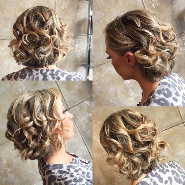 Homecoming Hairstyle With Short Curly Hair Balayage Hair