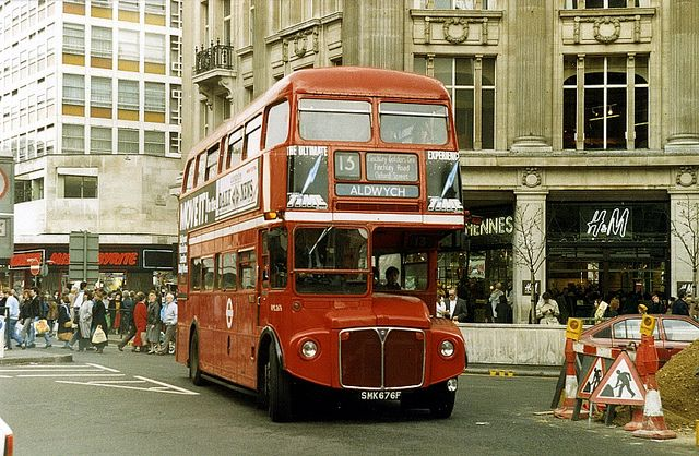 Oxford Circus in the late 1980's - H&M (Hennes) on the corner and Mr Byrite in the background....lol