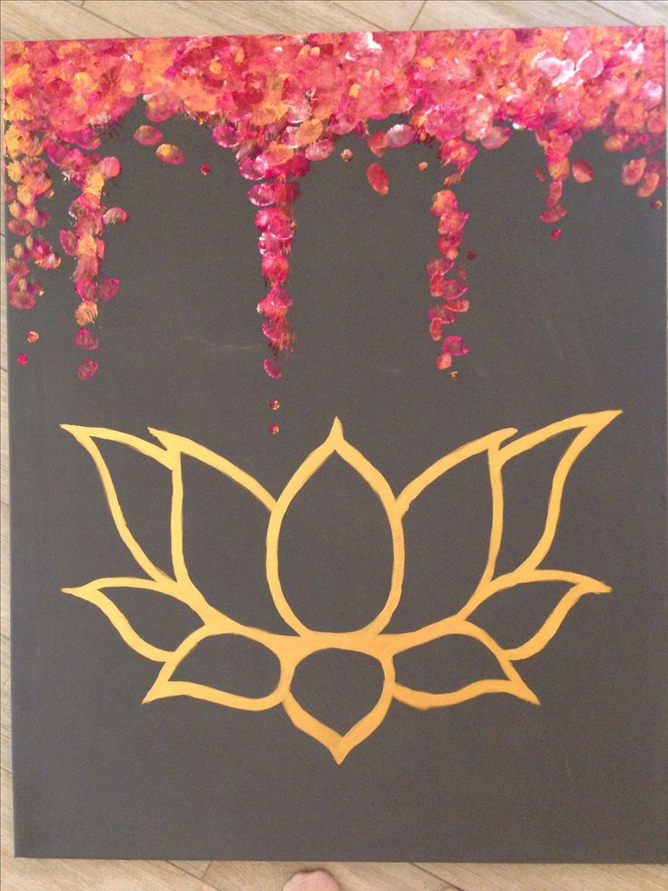 Zoe Baysting Art.  canvas modern contemporary lotus flower gold pop painting chic large artwork print grey abstract geometric pink Buddhist mindful