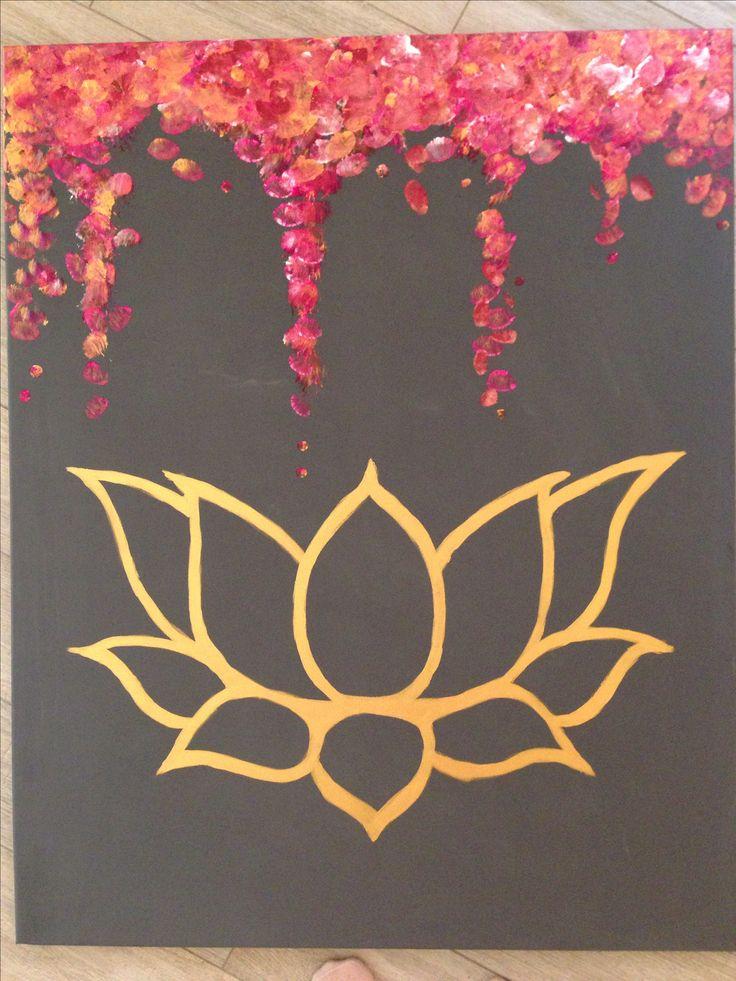 Zoe Baysting Art.  www.zoebaysting.com canvas modern contemporary lotus flower gold pop painting chic large artwork print grey abstract geometric pink Buddhist mindful mindfulness meditation