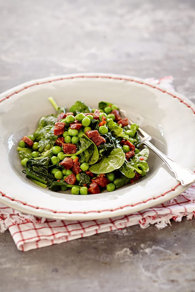 Sarah Graham's baby spinach, pea and chorizo salad from her recipe book, Smitten.