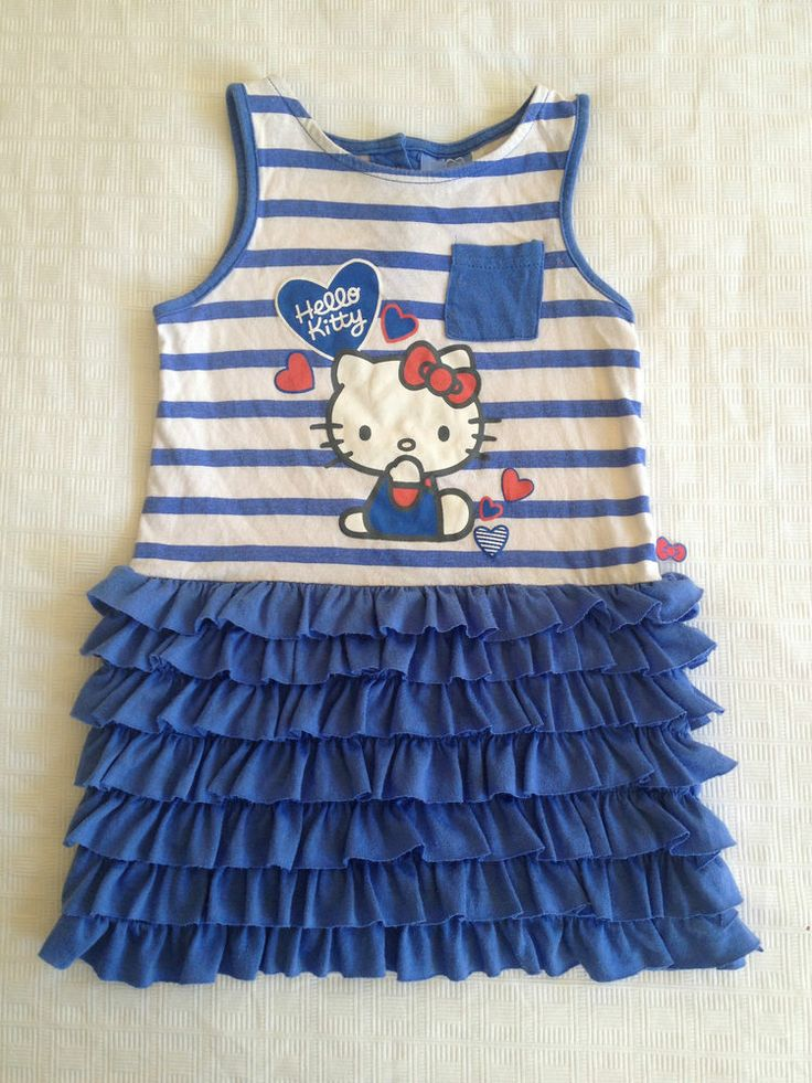 Girls Baby Official Hello Kitty Striped Ruffle Dress, Size 3 - Now Selling! Click through to go to eBay auction.