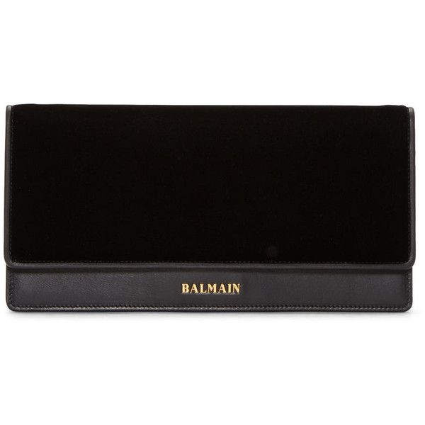 Balmain Black Leather and Velvet Clutch ($1,330) ❤ liked on Polyvore featuring bags, handbags, clutches, leather clutches, chain strap handbag, chain handle handbags, balmain and velvet handbag