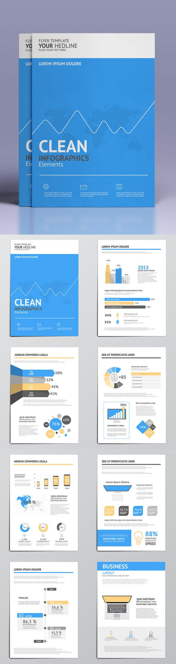 Collection of Modern Infographic Elements in a Flyer and Brochure Concept