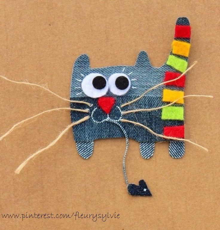 Chat alors ! Quel bon chasseur ! Recyclage des pantalons #jeans #recycle  http://pinterest.com/fleurysylvie/mes-creas-la-collec/ et www.toutpetitrien.ch