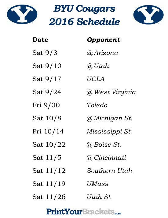 Printable 2016 BYU Cougars Football Schedule