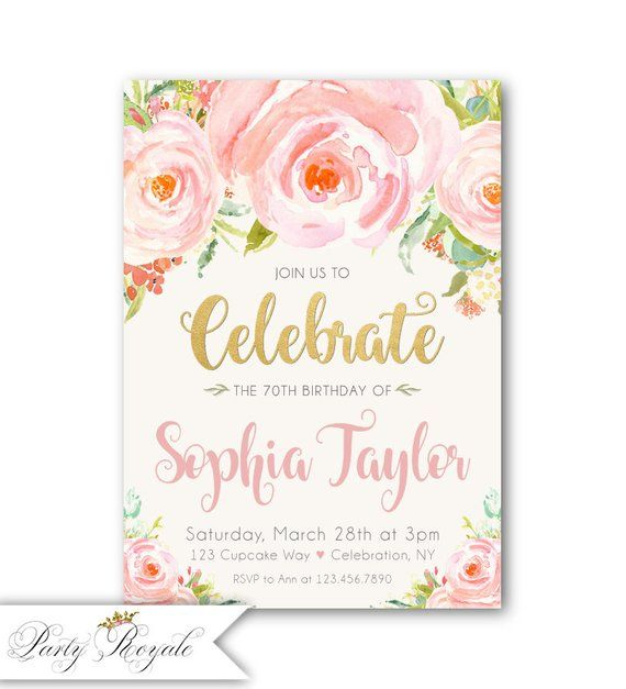 70th Birthday Invitation For Her Womens Printed Invitations OR Printable