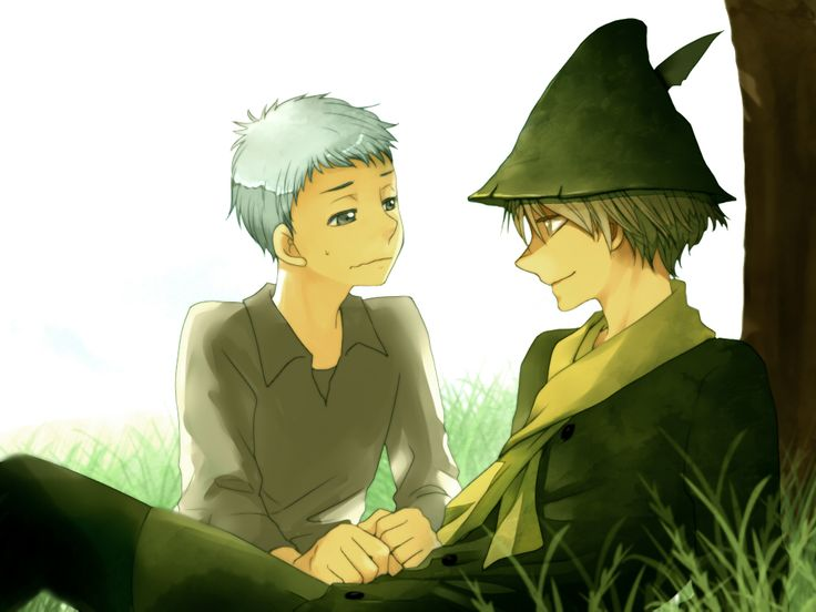 Moomintroll as a human! With Snufkin.