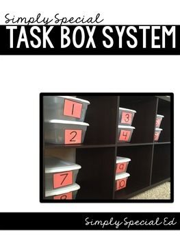 This task box system is simple and perfect for students with disabilities of all kinds. The system keeps all of your task boxes organized and ready to use. It also promotes independence for students to follow a visual schedule and retrieve their own boxes.