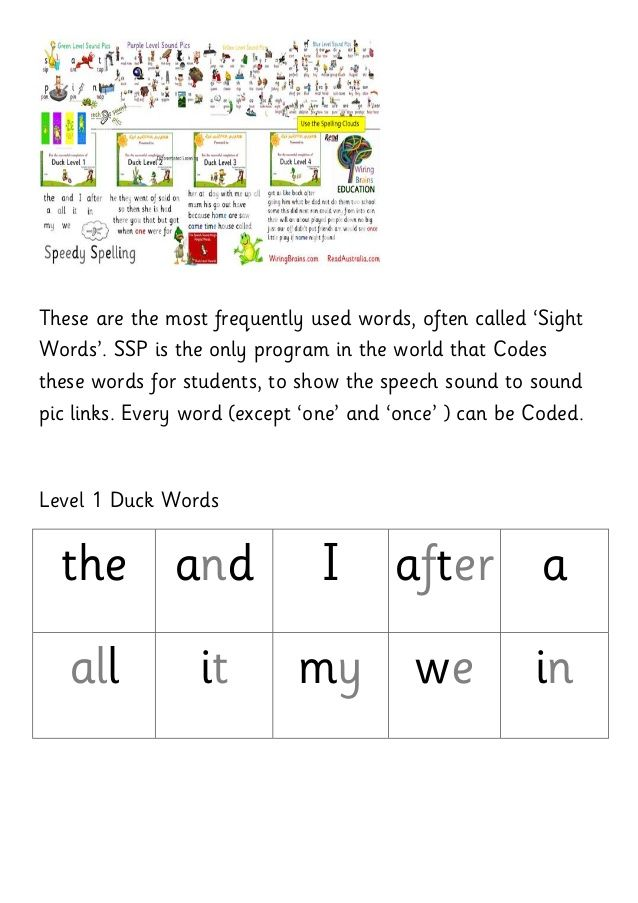 The King's Helpful Words - Duck Level Word Lists - Sight Words Coded