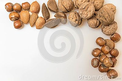 Walnuts, Almonds, Brazil nuts, hazel nuts