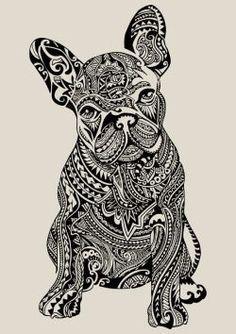 French bulldog zentangle