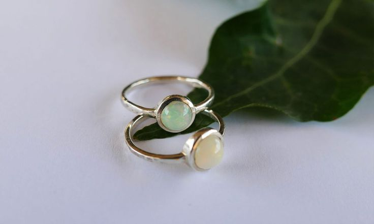 Opal Rings. #colourful #jewelrygift #gemstones #handmade #silver #leaf #jewellery