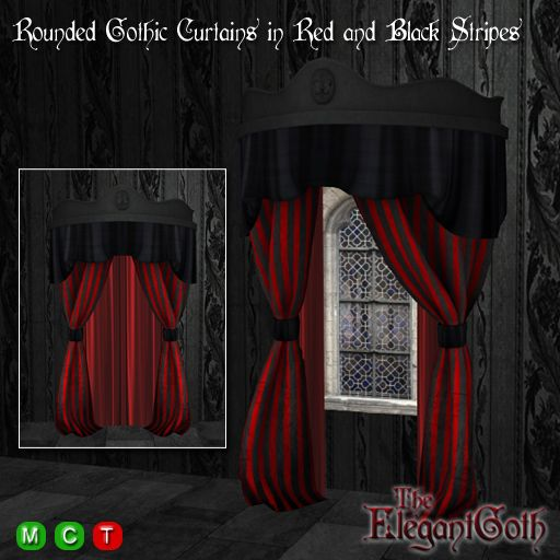 Rounded Gothic Curtains/Drapes in Red and Black Stripes - Mesh Drapes that  Open and