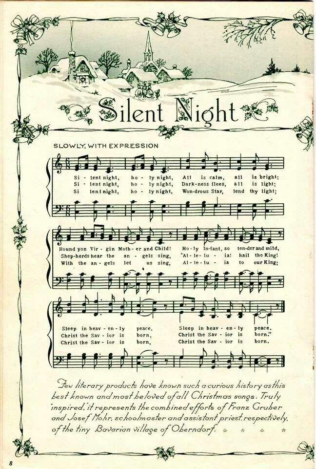 "Vintage Sheet Music ... beautiful ""Silent Night""."