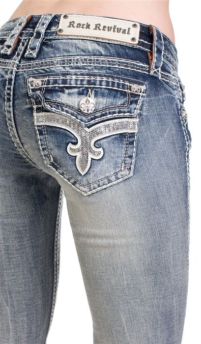 "Rock Revival Ena skinny jeans. This pair of jeans has a 32"" inseam and a 8"" rise."