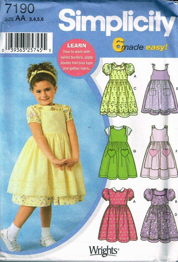 6 Styles Made Easy Dresses /& Hat PATTERN Toddler or Childs Size Simplicity 1449