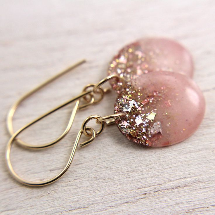pink resin drop earrings with gold glitter and gold leaf on gold earwires