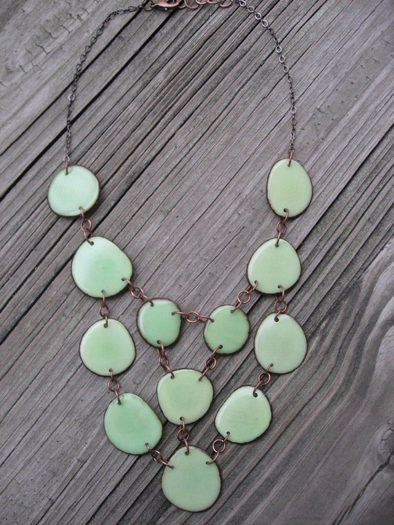 Light Mint Green Tagua nut bib style necklace - me wantee...