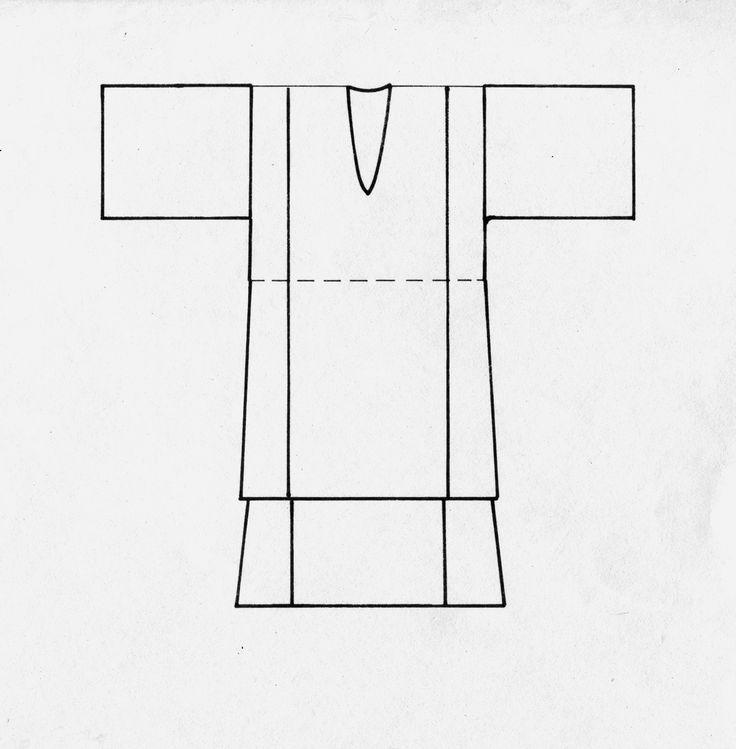 Αχνάρι φορέματος από την Κάσο, Δωδεκάνησα. Αρχείο Πελοποννησιακού Λαογραφικού Ιδρύματος, Ναύπλιο. Pattern of a dress from Kassos, Dodecanese, Peloponnesian Folklore Foundation Archive