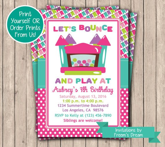 Best 25 Bounce house birthday ideas – Girls Birthday Party Invite