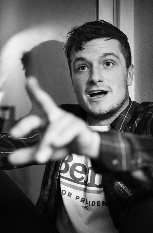 Josh Hutcherson watching the results trickle in from the Iowa caucus