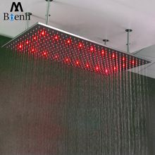 Brushed Rainfall Shower Heads 304 Sus 500 1000mm Water Power Led Light Temperature Control Led 3 Colors Shower In 2020 Rainfall Shower Big Shower Rainfall Shower Head