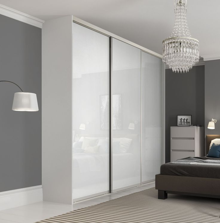 Premium Midi single panel sliding wardrobe doors in Pure White glass with Satin Silver frame.