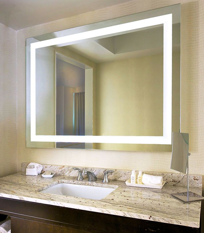 Lighted Mirror, LED And Glass Drawer Pulls