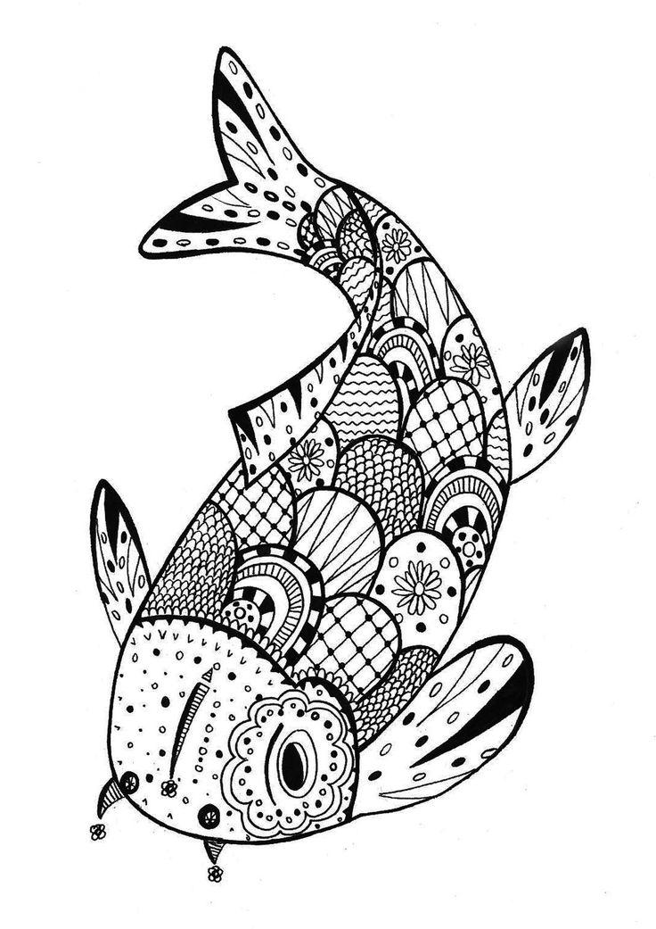Mon petit poisson, mon petit Zentangle, s'aimaient d'amour tendre, mais comment s'y prendre ? Lorsqu'on est dans l'eau !, Dans la galerie : Zentangle, Artiste : Rachel