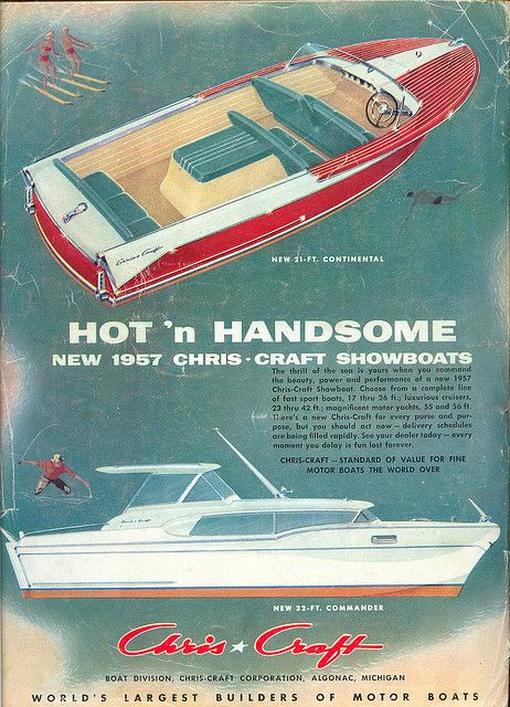 Chris Craft boat ad 1957 by Vintage America, via Flickr