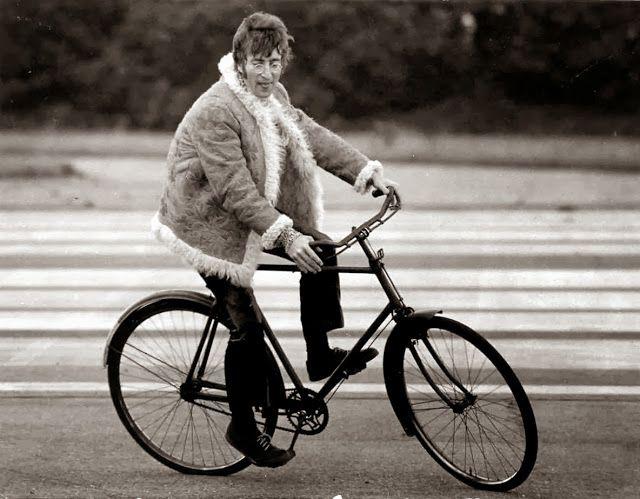 John Lennon on a bike in Magical Mystery Tour set, 1967