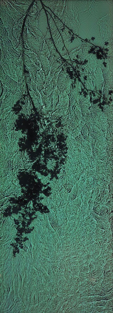 """Susan Derges: THE RIVER TAW, 1998. Camara-less photography: """"Susan Derges uses the landscape at night as her darkroom, submerging large sheets of photographic paper in rivers and using the moon and flashlight to create the exposure."""""""